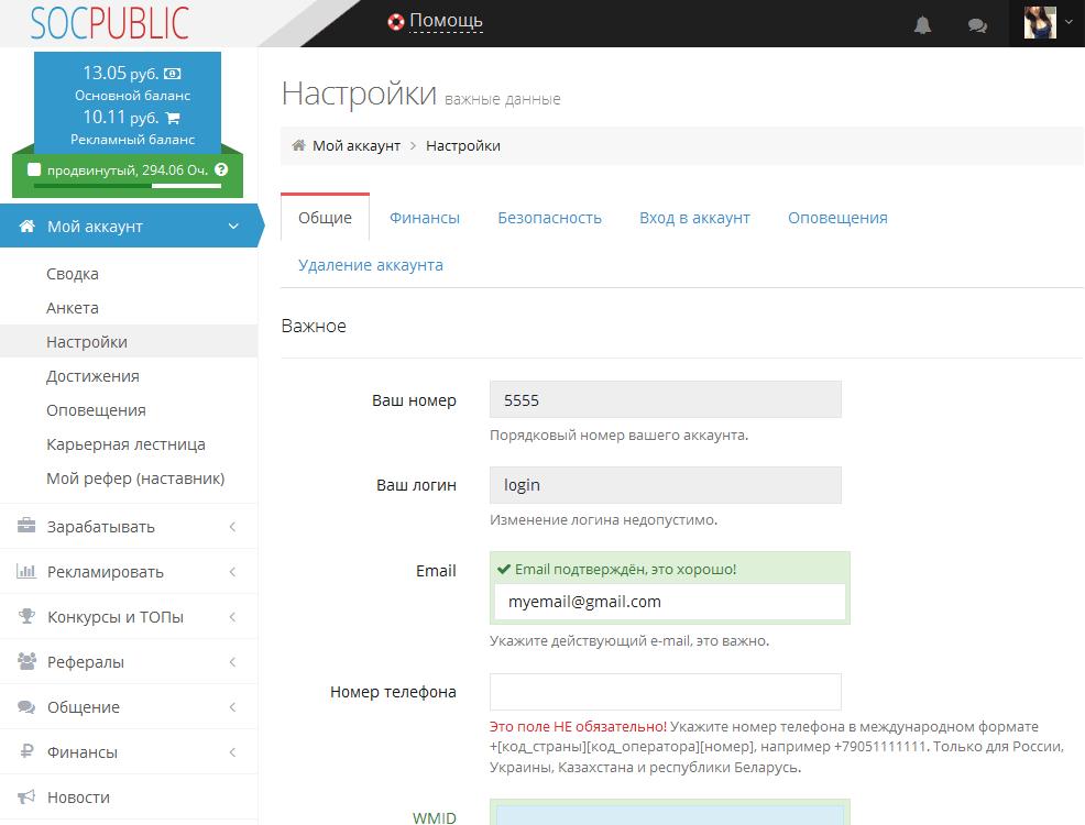 Скриншот общие настройки в Socpublic